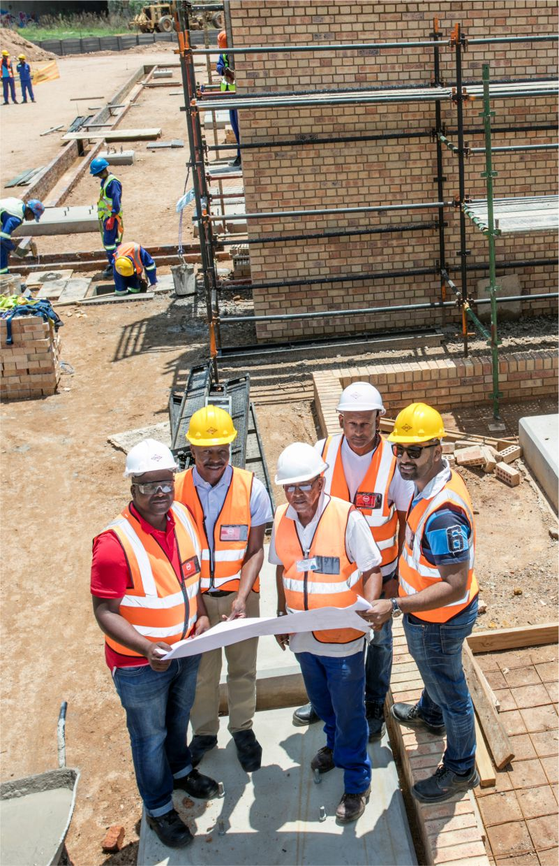 Pictured at the Heriotdale project site are from left to right: Nhlanhla Mashabane (CONCO Safety Officer); Maete Thoka (City Power Project Manager); Allan Johnson (Alkenna-civil Projects site supervisor); Dimitri Simon (CONCO Site Supervisor),  Joshen Abraham (CONCO Senior Engineer).